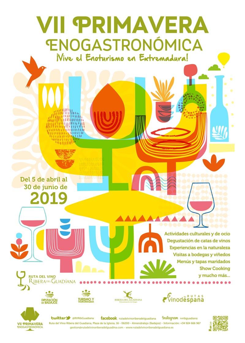 CARTEL VII PRIMAVERA Ruta del Vino Ribera del Guadiana - La Ruta del Vino Ribera del Guadiana celebra la VII Primavera Enogastronómica