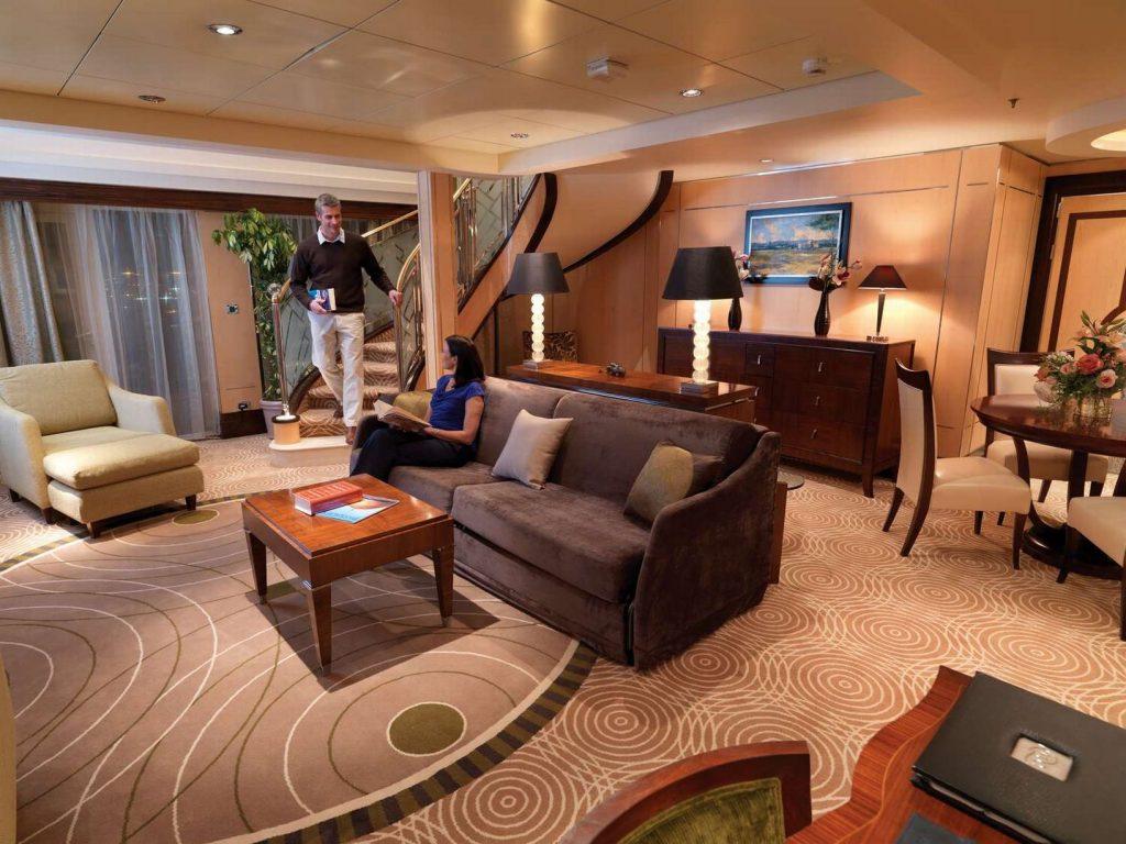 5. Cunard Suite Gran Duplex 1 1024x768 - Las 10 suites de crucero más grandes y lujosas del mundo