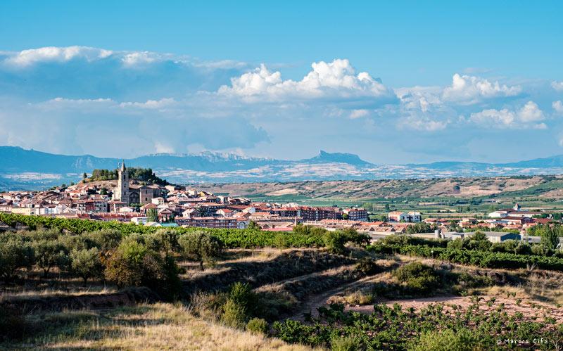Navarrete y la Sierra de Cantabria de fondo La Rioja viñedos viñas montaña sierra panoramica © Marcos Cifo DSF0395 - La ruta del vino de Rioja Alavesa sinónimo de naturaleza