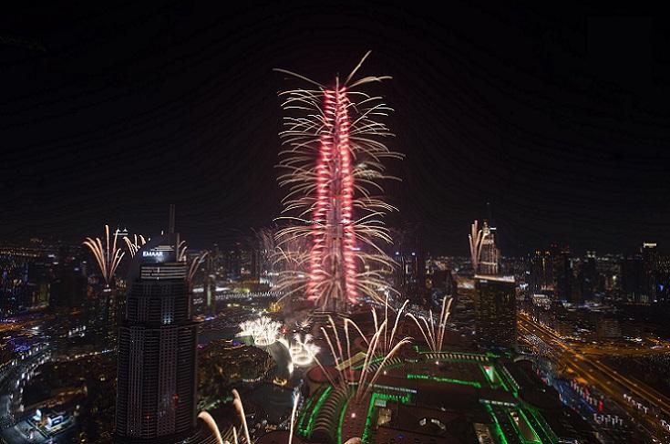 Burj Khalifa NYE Fireworks Dubai