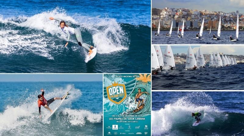 Montaje diciembre nautico - Surf y vela, protagonistas durante el Puente de Diciembre en la capital grancanaria