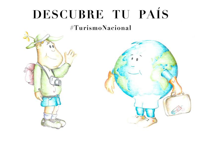 dibujo turista y tierra quedatencasa yomequedoencasa - Descubre tu país, un granito de arena por el turismo nacional